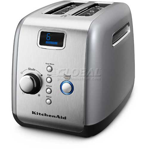 KitchenAid 2 Slice Toaster, Motorized Lower & Lift Contour Silver KMT223CU by