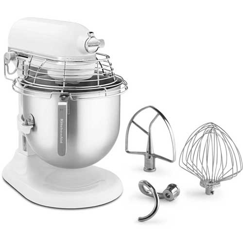 KitchenAid KSMC895WH Commercial 8 Qt. Stand Mixer With Bowl Guard, White, NSF by