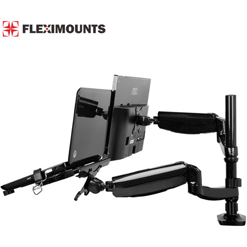 "Buy Fleximounts Deluxe Gas Spring Dual Arm Desk Mounts for 10""-27"" Monitors & Laptop"