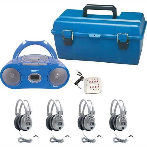 Buy HamiltonBuhl 4 Person Listening Center w/ Bluetooth CD/Cassette/Boombox & Deluxe Headphones