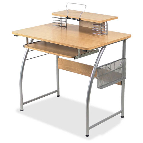 Lorell Upper Shelf Laminate Computer Desk Maple by