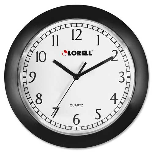 "Buy Lorell 9"" Round Quartz Wall Clock, Plastic Case, Black"