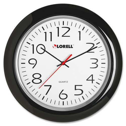 "Buy Lorell 13.3"" Round Quartz Wall Clock, Plastic Case, Black"