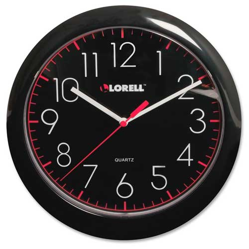 "Buy Lorell 10"" Round Quartz Wall Clock, Plastic Case, Black"