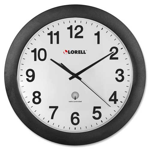 "Buy Lorell 12"" Round Radio Controlled Wall Clock, Plastic Case, Black"