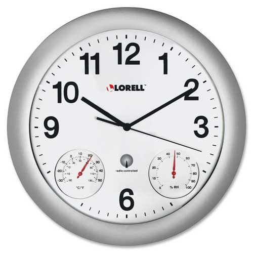 "Buy Lorell Analog Temperature/Humidity Wall Clock 12"" Silver"