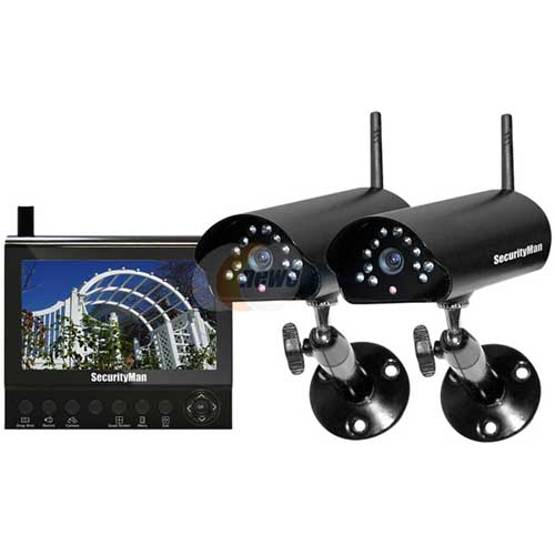 "4-CH Wireless Security System with 7"" LCD/SD DVR and 2 Cameras with Night Vision/Audio by"