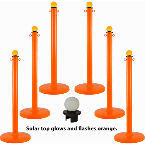 Plastic Stanchion with a Solar Light, Safety Orange, Sold in Pack of 6 by