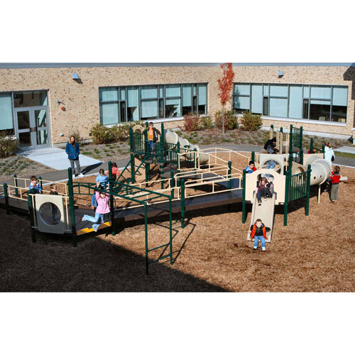 Playsystem W/Wheelchair Ramp Access In Green/Brown/Tan Combination, For Ages 2-12 by