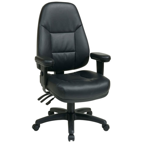 Office Star High-Back Eco-Leather Chair Black by