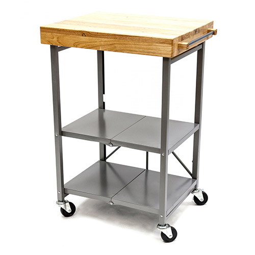 """Origami RBT-02 Kitchen Cart, Collapsible, 3 Tier, 24"""" x 20"""" Shelf Size, Silver by"""