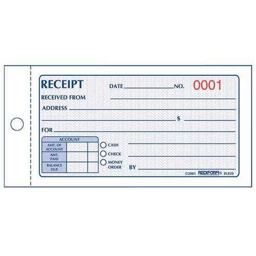 "Rediform Money Receipt Book, 2-Part, Carbonless, 2-3/4"" x 5"", 50 Sets/Book by"