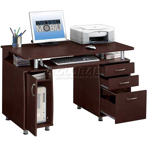 """Techni Mobili Complete Computer Desk, 48""""W x 24""""D x 30""""H, Chocolate by"""