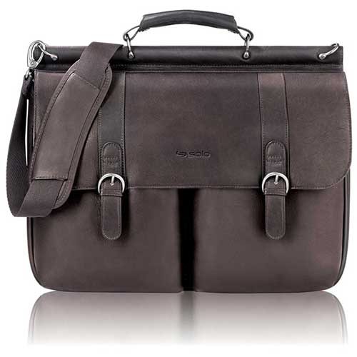 "Click here to buy Solo Laptop Portfolio, D5353, For 16"" Notebook, 16-1/2""W X 5""D X 13""H, Leather, Espresso."