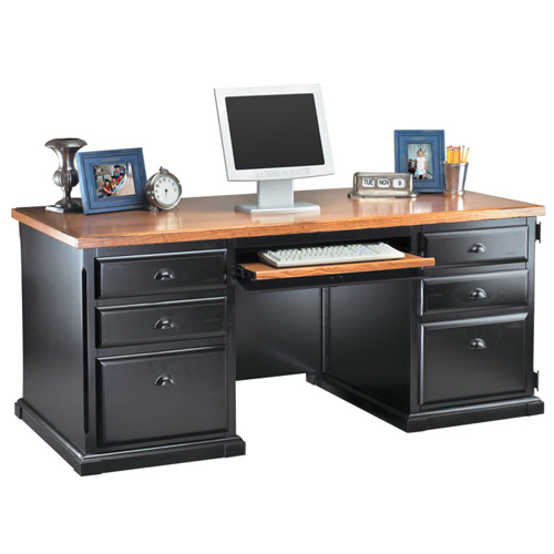 Martin Furniture Double Pedestal Computer Desk Southampton Onyx Office Series by