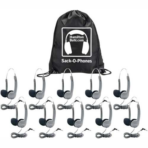 Buy HamiltonBuhl Sack-O-Phones, 10 HA1A Personal Headsets w/ Foam Ear Cushions, in a Carry Bag