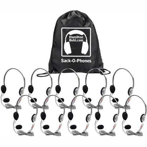 Buy HamiltonBuhl Sack-O-Phones, 10 HA2M Personal Headsets w/ Mic, Foam Ear Cushions in a Carry Bag