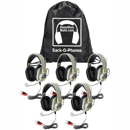 Buy HamiltonBuhl Sack-O-Phones, 5 HA-66M Deluxe Multimedia Headphones in a Carry Bag