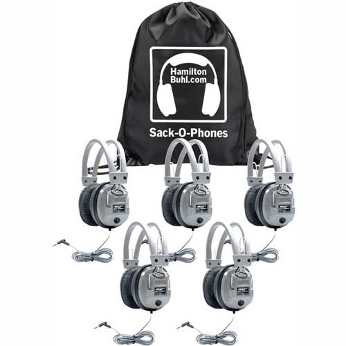 Buy HamiltonBuhl Sack-O-Phones, 5 SC7V Deluxe Headphones w/ Volume Control in a Carry Bag