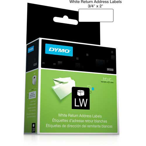 "Buy DYMO LW Return Address Labels 3/4"" x 2"" Black on White"