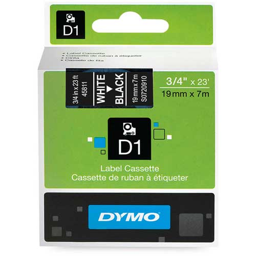 "Buy DYMO D1 Standard Labels 3/4"" White on Black"