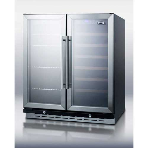"Summit SWBV3067 Built-In Undercounter Dual Zone Wine & Beverage Cooler W/Locks, 30"" Wide by"