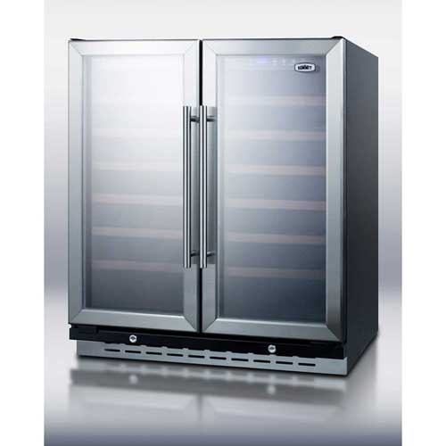 """Summit SWC3066 Built-In Undercounter Dual Zone Wine Cellar, LED Lighting, LED Lighting, 30"""" Wide by"""