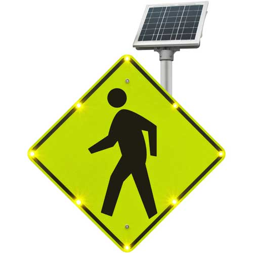 "Tapco 2180-00214 BlinkerSign Flashing LED Pedestrian Crossing Sign W11-2, 30""W, Solar by"