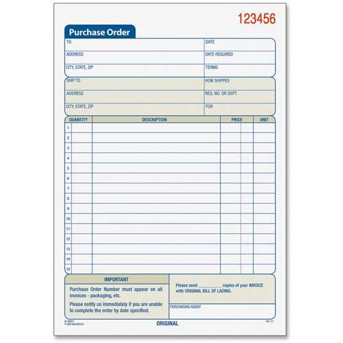 "Tops Purchase Order Book, 2-Part, Carbonless, 5-9/16"" x 7-15/16"", 50 Sets/Pack by"