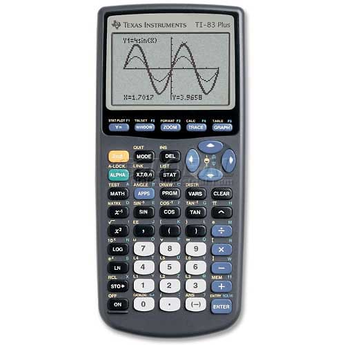 "Buy Texas Instruments Graphing Calculator, TI83PLUS, 8 X 16 Display, 3-1/2"" X 7-1/3"" X 1"", Black"