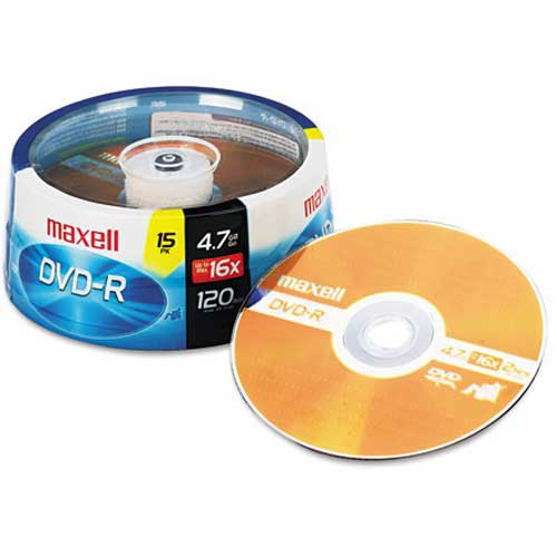 Buy Maxell 638006 DVD-R Discs, 4.7GB, 16x, Spindle, Gold, 15/Pack