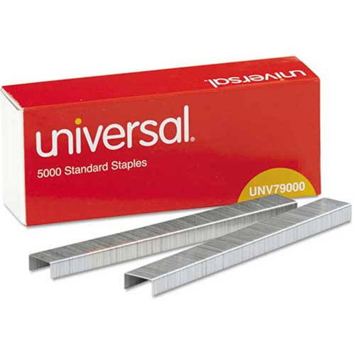 Universal Standard Chisel Point 210 Strip Count Staples, 5000/Box, 5 Boxes per Pack by