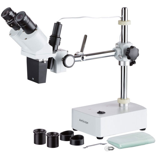 Buy AmScope SE400X 5X-10X Binocular Stereo Microscope on Boom Arm Stand with Light