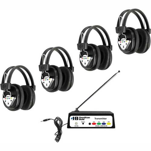 Buy HamiltonBuhl Wireless Listening Center, 4 Station w/ Headphones & Bluetooth Transmitter