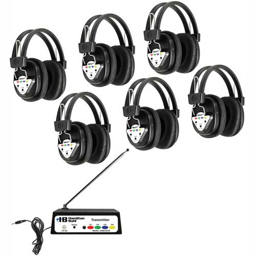 Buy HamiltonBuhl Wireless Listening Center, 6 Station w/ Headphones & Bluetooth Transmitter