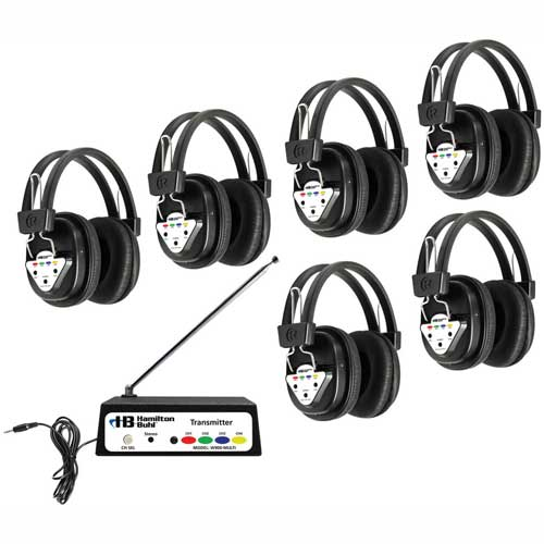 Buy HamiltonBuhl Wireless Listening Center, 6 Station w/ Headphones & Transmitter, Multi Frequency