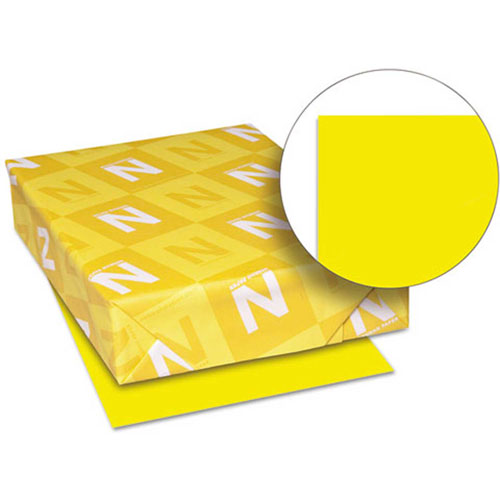 "Neenah Paper Astrobrights Card Stock Paper, 8-1/2"" x 11"", Solar Yellow, 250 Sheets/Pack by"