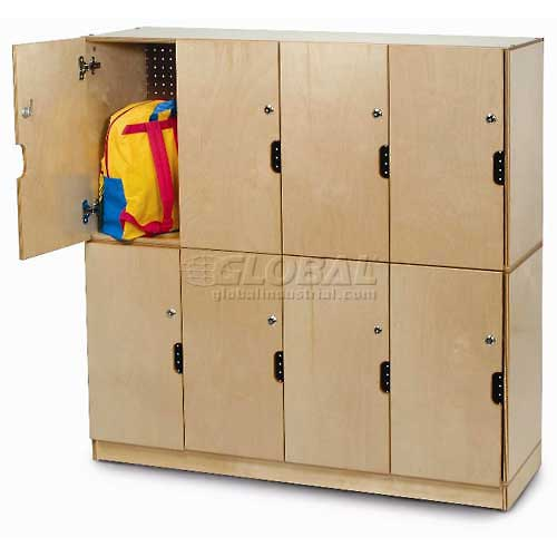"Four Section Backpack Storage Locker w/Locking Doors, 47-1/2""W x 15-3/4""D x 22-1/2""H, Natural by"