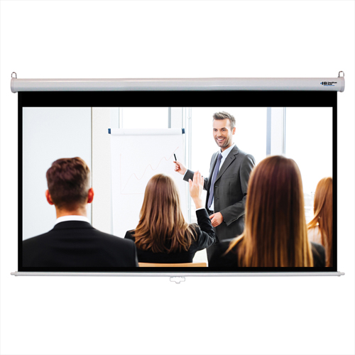 "Buy HamiltonBuhl Manual Projector Screen 100"" Diagonal HDTV Format White Frame"
