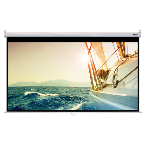 "Click here to buy HamiltonBuhl Manual Pull Down Projector Screen 120"" Diagonal HDTV Format White Frame."
