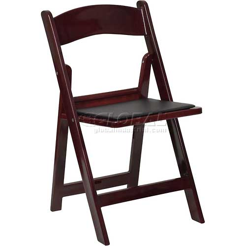 Flash Furniture Folding Chair with Vinyl Seat Resin Mahogany Package Count 4 by