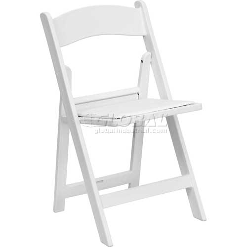 Flash Furniture Folding Chair with Vinyl Seat Resin White Package Count 4 by