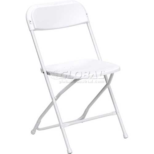 Flash Furniture Plastic Folding Chair White Package Count 10 by