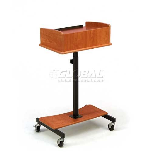 Click here to buy Laptop Speaker Stand With Slide Out Laptop Shelf, Cherry.