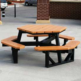 Plastic/Recycled Plastic Picnic Tables With Plastic Frame - Rectangular, Round & Hexagon