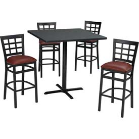 Premier Hospitality Furniture - Bar Height Café Table & Window Pane Back Barstools Set