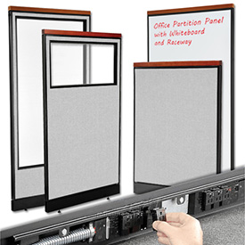 Interion™ Deluxe Cubicle Partition Panels with Powered and Non-Powered Base