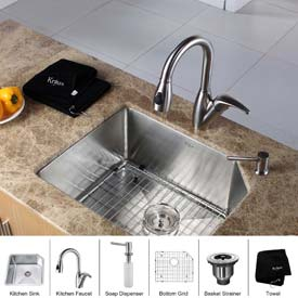Kraus Undermount Single Compartment Sinks With Faucets & Soap Dispensers