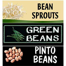 Beans, Peas & Sprouts Grocery Signs