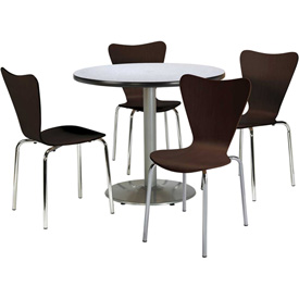 KFI - Table with 4 Wood Stacking Chairs Set
